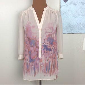LC Lauren Conrad sheer floral blouse